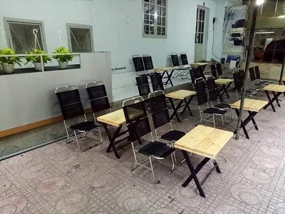 BÀN GHẾ CAFE INOX XẾP